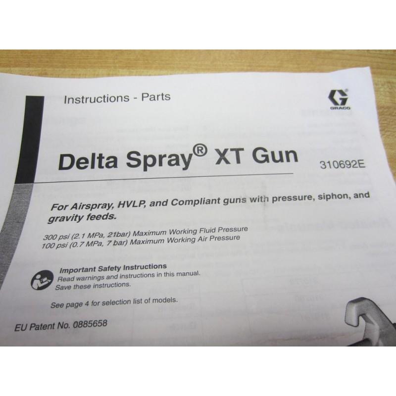 Graco 310692e Delta Spray Xt Gun Instructions Parts Manual W 192757