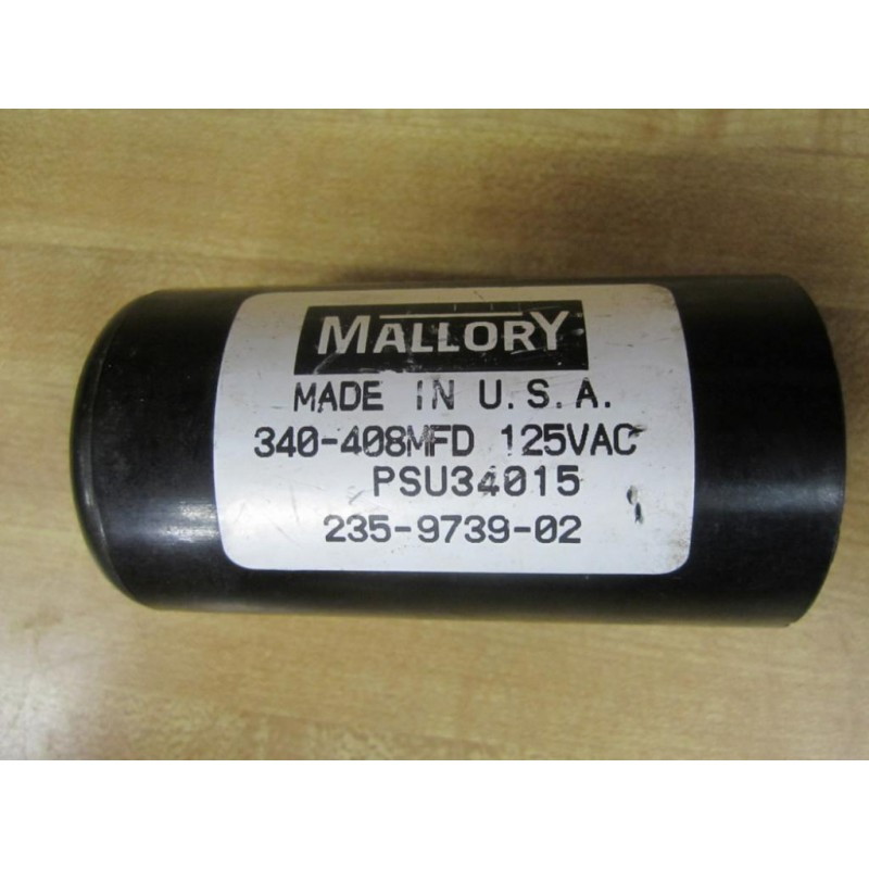 Mallory 340 408mfd capacitor 125vac psu34015 235 9739 02 for Mallory ac motor starting capacitor