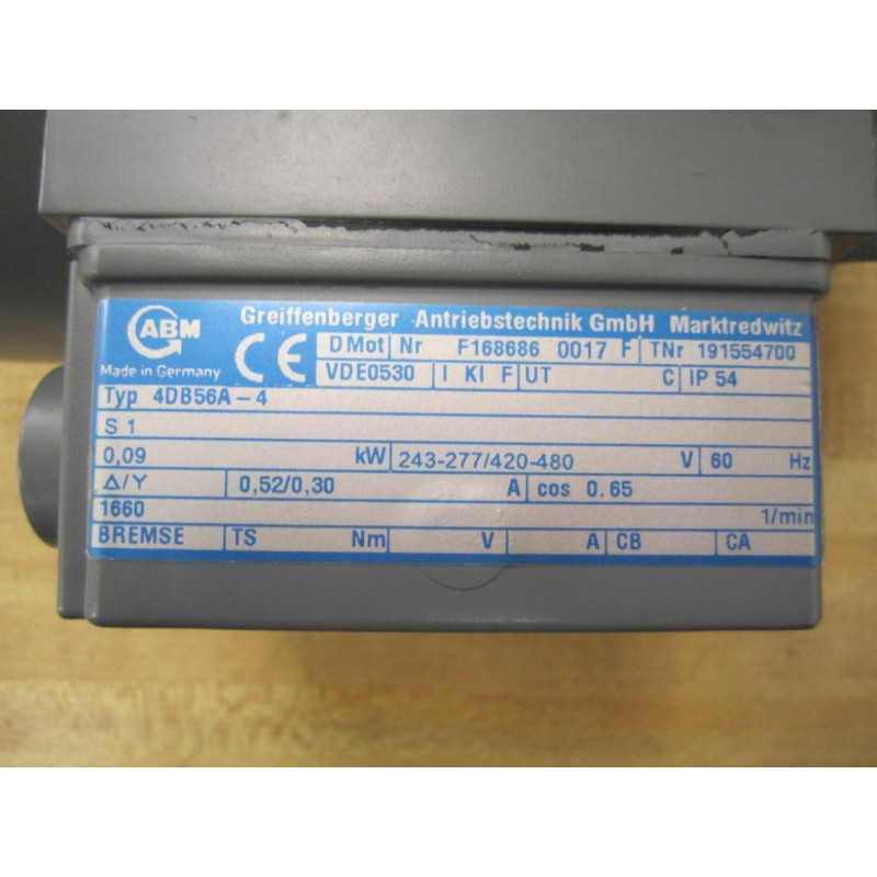 ... ABM 4DB56A-4 Motor F168686 0017 F VDE0530 - New No Box ...