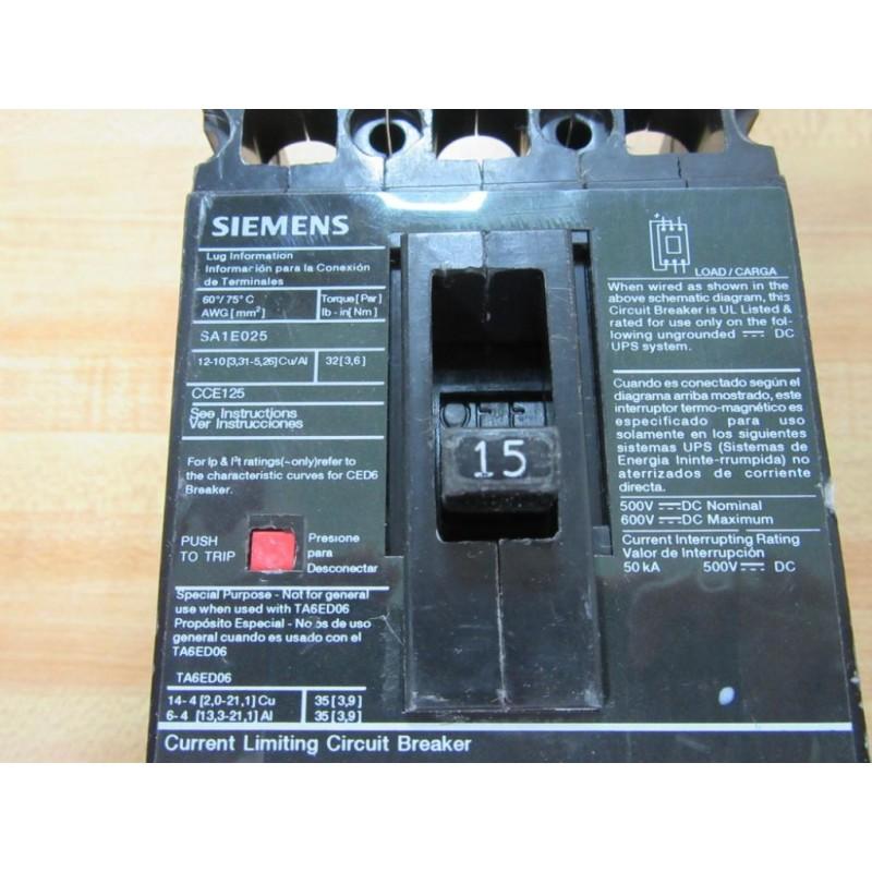 Siemens Ced63b015 15a Circuit Breaker Ced63b015l Used