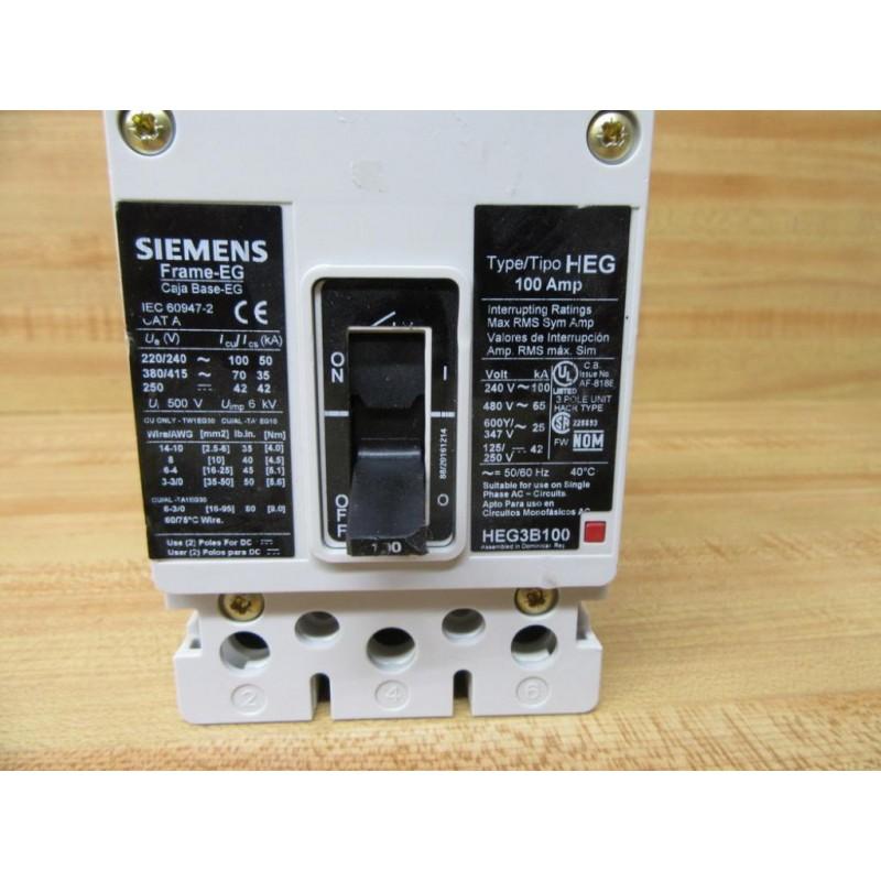 Siemens HEG3B100 Circuit Breaker WChipped Switch - Used